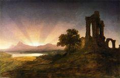"""""""Ruines gothiques au coucher du soleil"""", huile sur toile de Thomas Cole (1801-1848, United Kingdom)"""