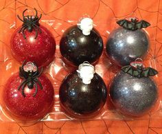 Gothic Sparkly Halloween Ornaments. $25.00, via Etsy.  These look easy enough, put Halloween rings over the hangers.