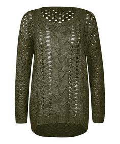 Look what I found on #zulily! Olive Wide Cable-Knit Sweater by Dex #zulilyfinds