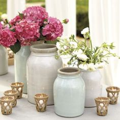 Suzanne Kasler Glazed Pots--perfect for outdoor entertaining with fresh flowers.