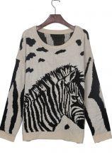 #sheinside  Beige Zebra Print Batwing Sleeve Loose Jumper Sweater $34