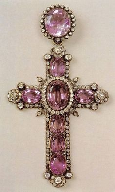 Love this antique kunzite and diamond cross.