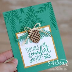 Hi friends. Today's card is one from my October Cards & Cupcakes Class. The Christmas Pines stamp set and coordinating Pretty Pines Thinl...