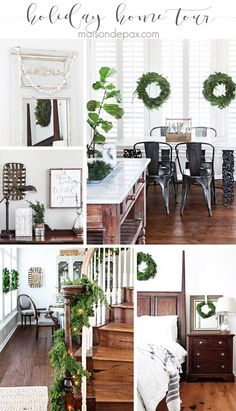 Gorgeous, simple Christmas home tour: natural greenery, winter woodland theme, sparkly touches, and simple reminder of the hope of the season. Tons of diy and decorating ideas   maisondepax.com