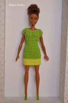 Vestido a crochet para Barbie - Crochet dress for Barbie Made to Move | Manualidades