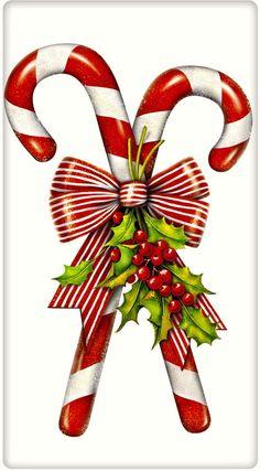 Candy Canes Christmas 100% Cotton Flour Sack Dish Towel Tea Towel