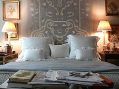 Bunny Williams ~ The embroidery on the headboard of her bed in NYC was done in India. Bedroom Bed, White Bedroom, Master Bedroom, Bedroom Decor, Bedrooms, Bedroom Retreat, Wall Decor, Headboards For Beds, Upholstered Headboards