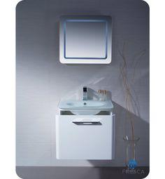 Fresca FVN1724WH Brillante Wall Mount Modern Bathroom Vanity in White
