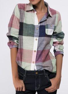 Tartan Informal Algodão Colarinho Manga comprida Camisas (1049228) @ floryday.com