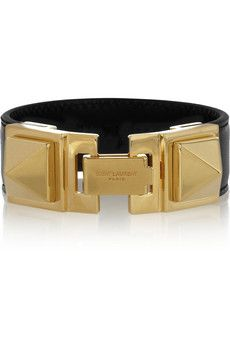 Saint Laurent Gold-plated and leather bracelet | NET-A-PORTER