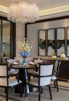 Modern room and interior design. Clean lines and muted soft colors Luxury Dining Room, Dining Room Lighting, Dining Room Sets, Dining Room Design, Dining Room Furniture, Dining Area, Furniture Sets, Estilo Art Deco, Modern Room