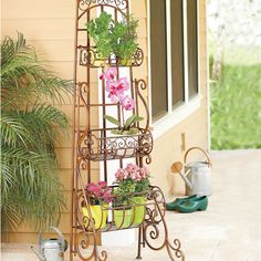Looking for a spot to grow your herbs on a small patio? This venetian-inspired metal rack has 3 removable baskets to hold your herbs - when you need them in the kitchen, just remove the basket and take them with you.