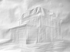 Simon Schubert - pencil-less drawing, rendered completely by folds in the paper.