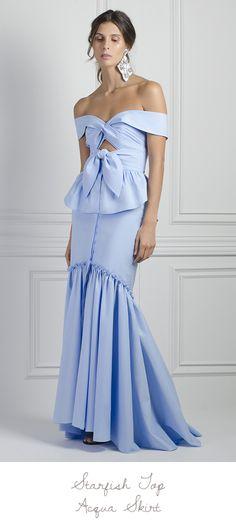 Johanna Ortiz Summer '17 Starfish off-shoulder knot top + Acqua skirt