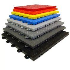 Garage Floor Tiles: Raised, Diamond Portable Event, Trade Show Garage Flooring Options, Garage Floor Mats, Basement Flooring, Diy Flooring, Flooring Tiles, Floors, Penny Flooring, White Flooring, Ceramic Flooring