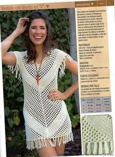 This Pin was discovered by Adr Tina's handicraft : mesh summer dress with ideas crochet clothes for women summer tops kids if you are looking for a crochet blusas Crochet Tunic, Crochet Clothes, Crochet Lace, Crochet Stitch, Moda Boho, Tunic Pattern, Crochet Woman, Mesh Dress, Boho Outfits
