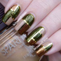 Mod squares with striping tape, and nude, green glitter, and copper glitter polish + tutorial