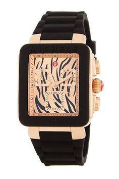 Women's Park Jelly Bean Black Rose Gold Tiger Strap Watch