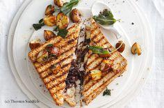 Zwiebeltoast mit Pilzen Snacks, Finger Foods, Toast, Bread, Meals, Vegetables, Meal Ideas, Onions, Mushrooms