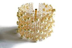 Pearl Cuff Bracelet, Wire Crochet Bracelet, Romantic Wedding Jewelry, Gift for Women christmas gift #etsy #bracelet #gift #jewelry