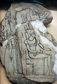The Theban Triad.Ostracon with Amun,Mut and Khonsu. •Egyptian Museum,Cairo•