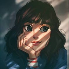 Image about beautiful in art /drawing / painting / illustration /watercolor/anime/lovely by happyperson Girl Cartoon Characters, Cute Cartoon Girl, Cartoon Girl Drawing, Cute Girl Drawing, Cartoon Drawings, Drawing Art, Art Anime Fille, Anime Art Girl, L'art Du Portrait
