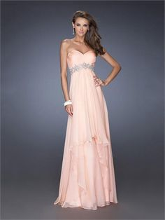 A-line Sweetheart Beadings Empire Chiffon Prom Dress PD1298 www.homecomingstore.com $185.0000
