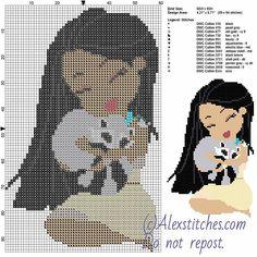Pocahontas and Meeko free disney cross stitch pattern 60x95 13 colors