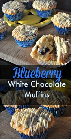 Blueberry Lemon White Chocolate Muffins : Great Idea for an Early Morning Tailgate! Mini Desserts, Delicious Desserts, Yummy Food, Easy Desserts, White Chocolate Muffins, Blue Berry Muffins, Chocolate Chocolate, Blueberry Chocolate, White Chocolate Raspberry