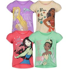 Disney Princess Mulan Rapunzel Moana Tiana 4 Pack Graphic Short Sleeve T-Shirt - 2T