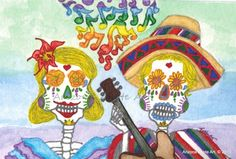 Original Day of the Dead Watercolor Painting Colorful Notes4x6(Matted) | ArizonaAhoteArt - Folk Art & Primitives on ArtF