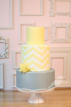 Chevron cake, simple and pretty! Grey, mint and peach? Wedding cake.