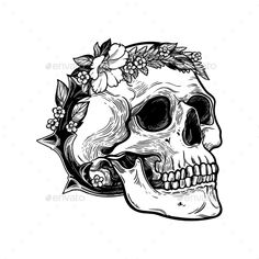Romantic Skull with Wreath of Flowers and Thorns