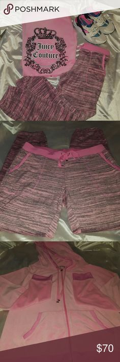 Juicy Couture 2 piece valor set. 2 piece Juicy Couture valor set. Barely worn. Jacket is a large. Pants are a medium. Very comfortable wear. Juicy Couture Pants Track Pants & Joggers