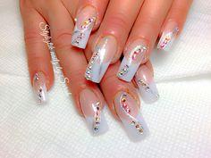 Wedding bling nails  Pink and white nails  Styliztik nailz by Sarah