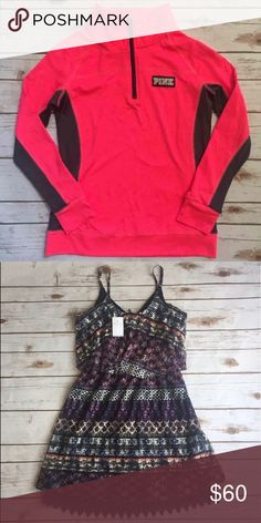 Bundle PINK Sweater new without tag never worn size small. Vanity Dress size small new with Tag. Sweaters
