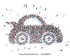 Large group of people in the form of a car. Isolated, white background. - stock photo