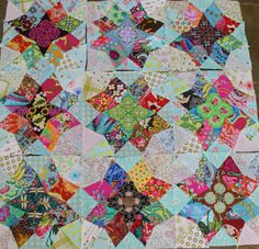 All hand pieced. Look at the centers of these gorgeous blocks.