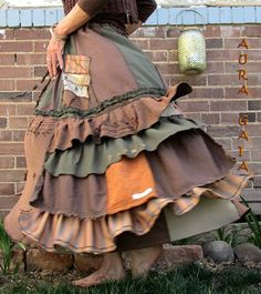 AuraGaia ~ Lady of The Forest ~ Poorgirl's Upcycled Skirt. raw edges; ruffles; buttons; made with much joy