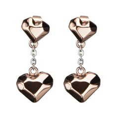 Rose Crush Earrings - Heart Shaped Rose Gold Ion Plated Stainless Steel Love Statement Earring. #BuyBlueSteel #Jewelry