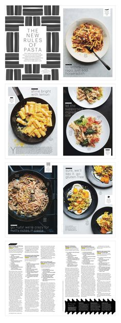 "Editorial design Bon Appétit magazine : ""The New Rules of Pasta,"" March 2015 Illustrations by Caz Hildebrand, of The Geometry of Pasta Alaina Sullivan"