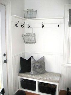 Small Entryway Bench, Small Mudroom Ideas, Entryway Bench Storage, Small Bench, Entryway Furniture, Bench With Storage, Entryway Ideas, Hallway Ideas, Bench Mudroom