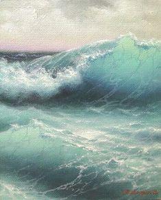 "#""Big wave coming"" oil painting Vladimirmesheryakov 2013 347  432 Repin and follow! #OilPaintingWater"