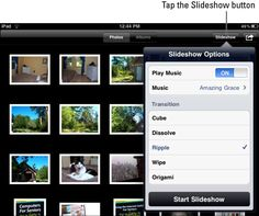 Part of the fun of taking photos is sharing those images with others. The iPad's Photos app allows you to create a slideshow to show off your pictures. You can even add background music and fancy transitions to your iPad slideshow!