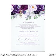 Purple Floral Wedding Information Guest Card Purple flowers wedding guest information