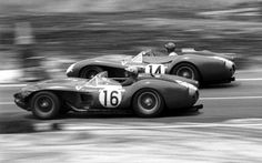 The factory Ferrari 250 TR's that came in first and second at Sebring in 1958. The #16 Ferrari was driven by Luigi Musso and Oliver Gendebien and came in second. The #14 Ferrari was driven by Phil Hill and Peter Collins and came in first. Both cars were equipped with the Ferrari Tipo 128 LM V12 3-liter engine.