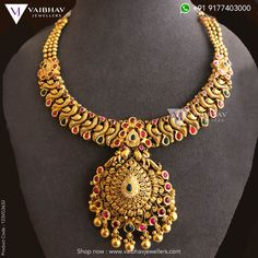 Gold Temple Jewellery, Gold Jewellery Design, Gold Jewelry, Latest Necklace Design, Necklace Designs, Choker Necklace Online, Gold Chain Design, Jewelry Design Drawing, Gold Designs