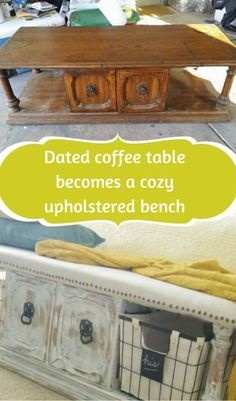 It changes from a table to a bench, and from dated to chippy and charming