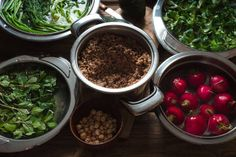 ingredients for healthy salad with buckwheat vegetable and greens