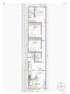 Narrow House Plans, House Floor Plans, Home Design Plans, Plan Design, Indian House Plans, Shotgun House, Apartment Plans, Shipping Container Homes, Small House Design
